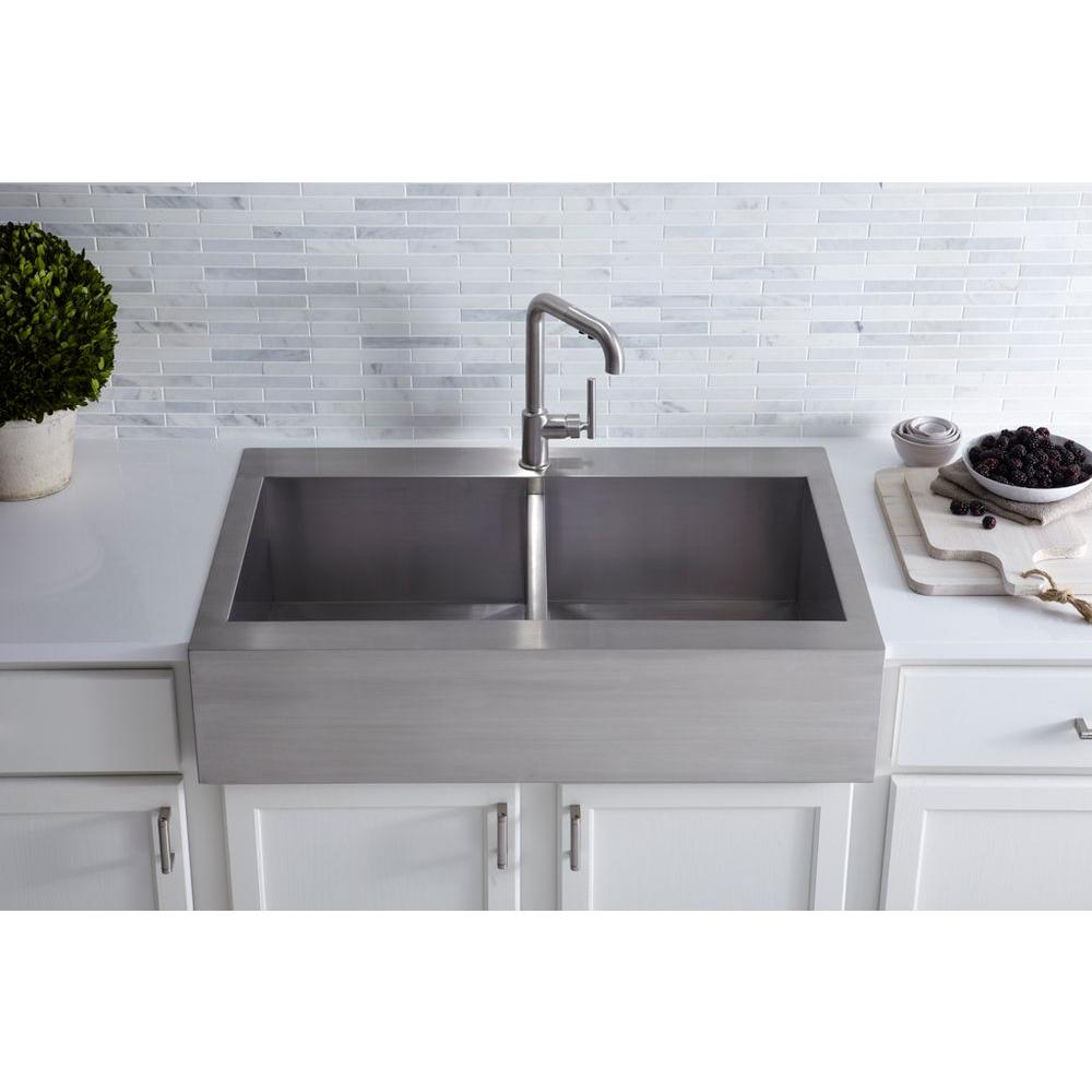 Kohler Vault Drop In Apron Front Stainless Steel 36 In 1 Hole Double Bowl Kitchen Sink