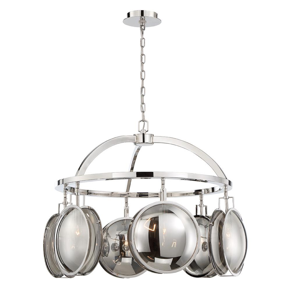 Eurofase Havendale 6-Light Polished Nickel Chandelier with Mercury Glass Shade