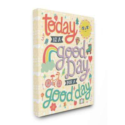 "30 in. x 40 in. ""Outdoor Sun and Rainbow Script Lettering Today Is A Good Day "" by Allison Cole Canvas Wall Art"