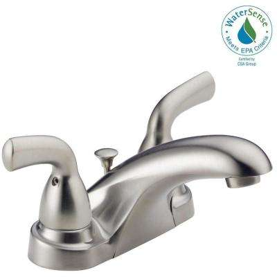 Foundations 4 in. Centerset 2-Handle Low-Arc Bathroom Faucet with Metal Drain Assembly in Stainless