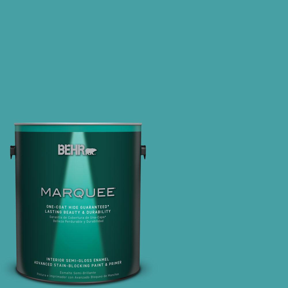 1 gal. #M460-5 Aqua Fresco One-Coat Hide Semi-Gloss Enamel Interior Paint