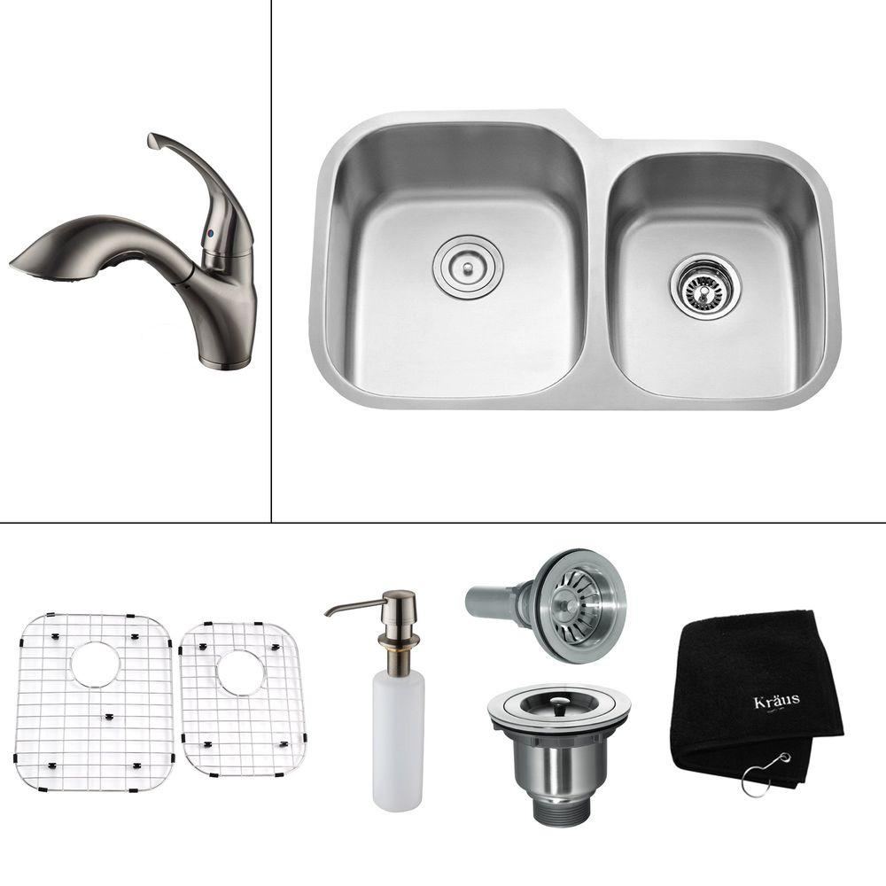 KRAUS All-in-One Undermount Stainless Steel 32 in. 0-Hole Double Bowl Kitchen Sink with Satin Nickel Accessory