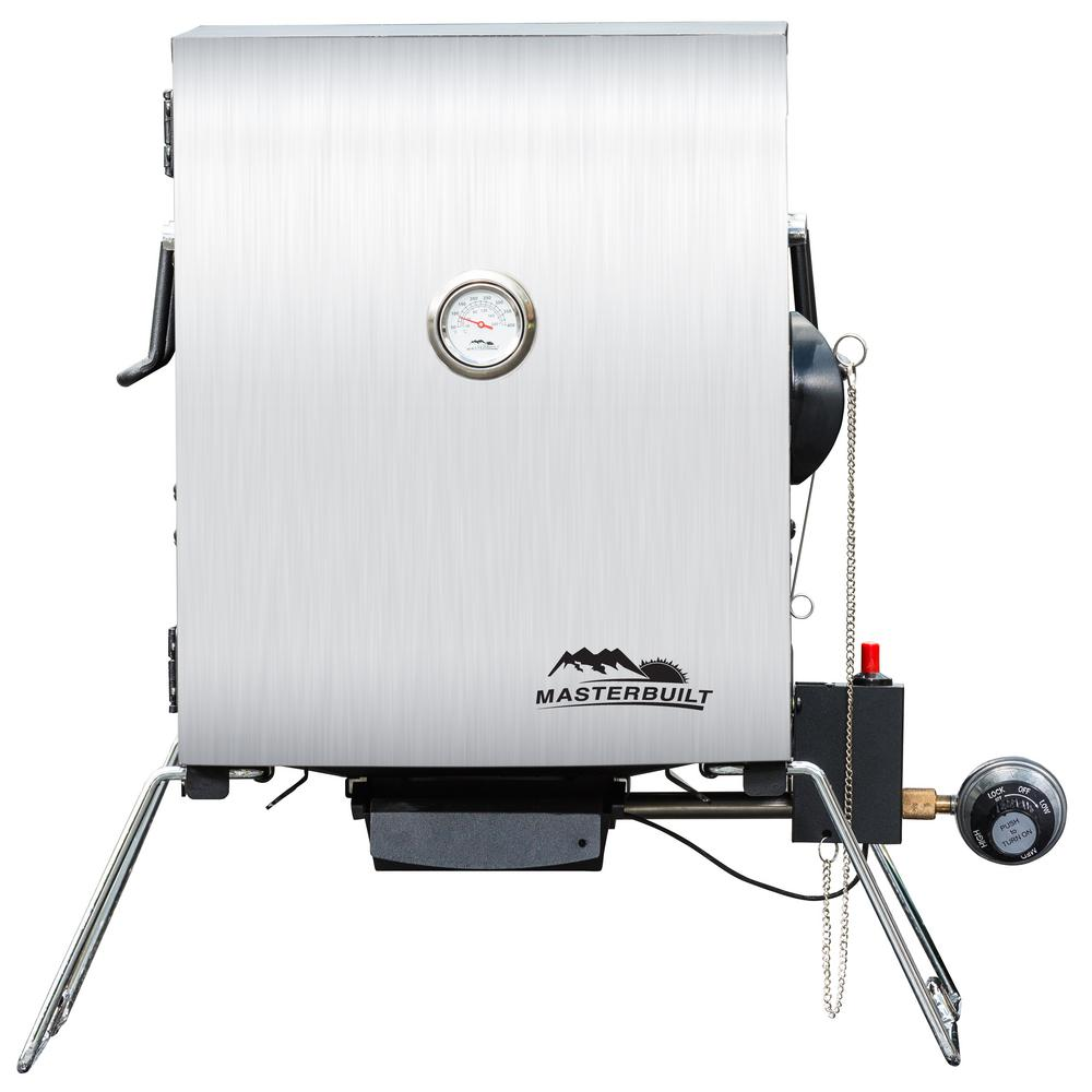 Masterbuilt Portable Propane Smoker in Stainless Steel The Portable Propane Smoker by Masterbuilt is perfect for smoking at home or on-the-go. There's room to smoke a whole a turkey or ham, slabs of ribs, or your favorite BBQ for tailgating. This portable smoker is ideal for camping or road trips. Masterbuilt has made smoking simple and portable.
