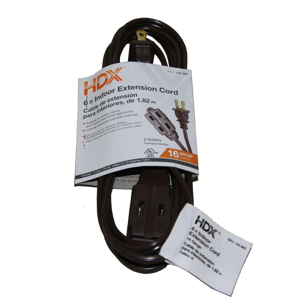 HDX 6 ft. 16/2 SPT-2 Cube Tap Extension Cord - Brown