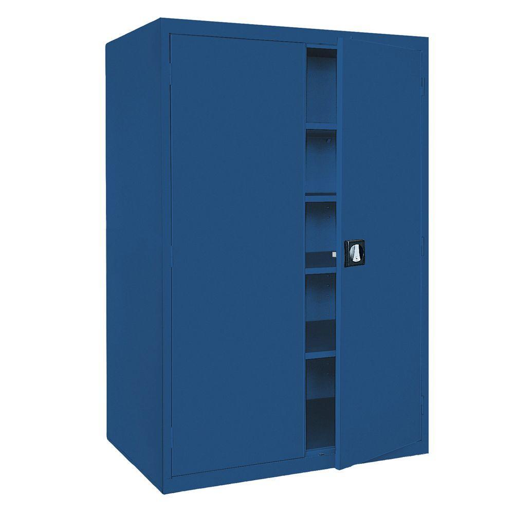 Elite Series 78 in. H x 36 in. W x 18 in. D 5-Shelf Steel Recessed Handle Storage Cabinet in Blue
