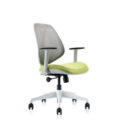 Omin Series Gray Mesh Low Back Office Chair with Lumbar Support, Adjustable Height and Seat, Tilt Lock, w/ Green Cushion