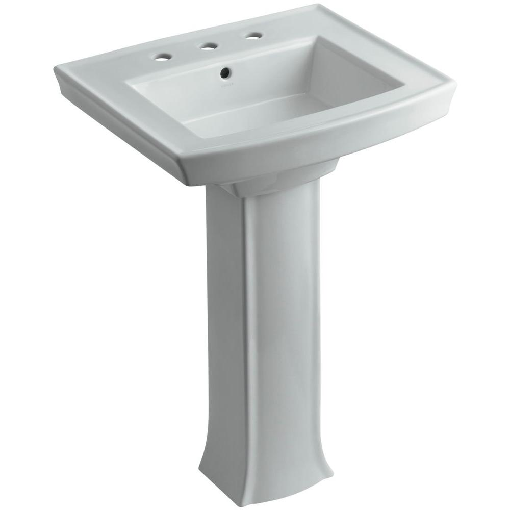 Archer Vitreous China Pedestal Combo Bathroom Sink in Ice Grey with