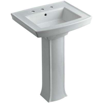 Archer Vitreous China Pedestal Combo Bathroom Sink in Ice Grey with Overflow Drain