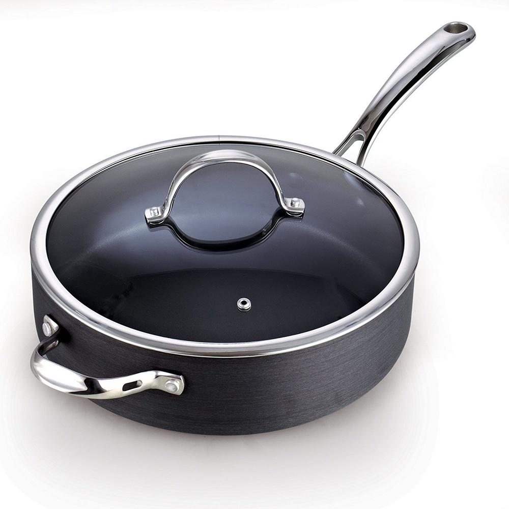 cooks standard 5 qt 11 in non stick hard anodized deep saute pan with lid nc 00346 the home. Black Bedroom Furniture Sets. Home Design Ideas