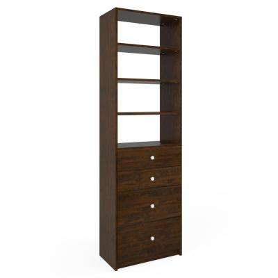 14 in. D x 24 in. W x 84 in. H Vanilla Bean Wood Drawer and Shelving Closet System
