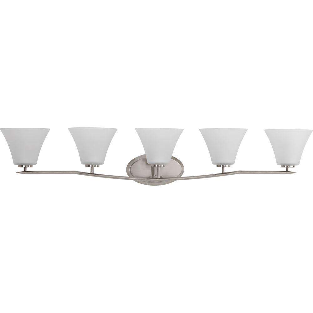 Bravo collection 5 light brushed nickel bathroom vanity light with glass shades