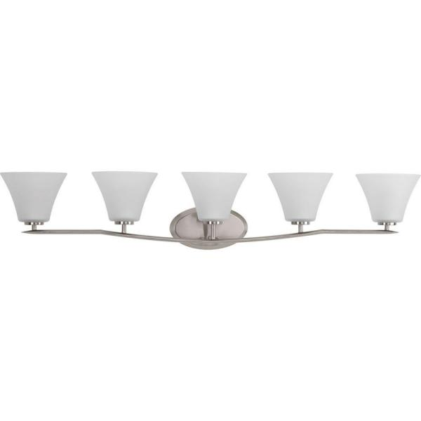 Bravo Collection 5-Light Brushed Nickel Bathroom Vanity Light with Glass Shades