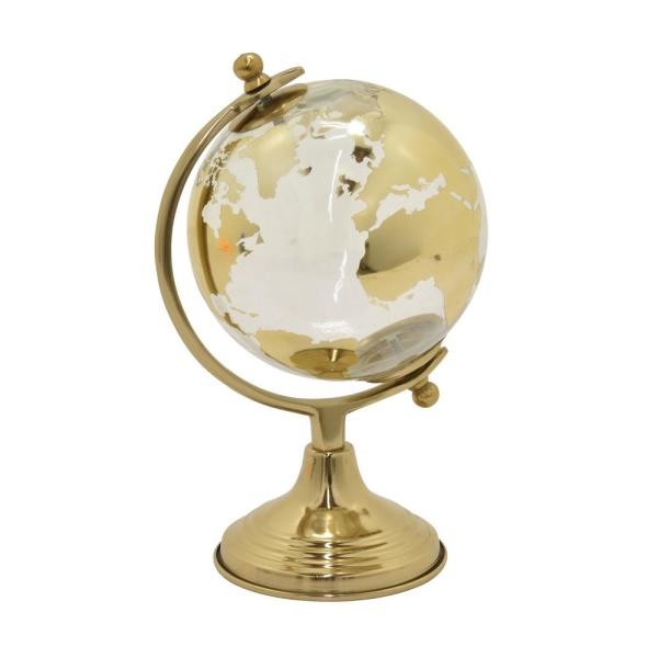 THREE HANDS 11 in. Glass Globe with Metal Base 6 in.