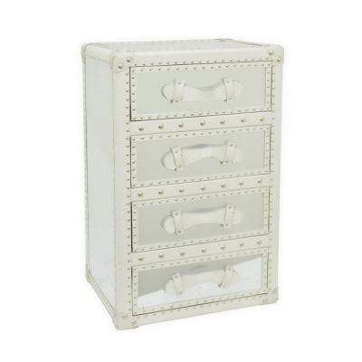 31.89 in. White Wood and Mirror Cabinet
