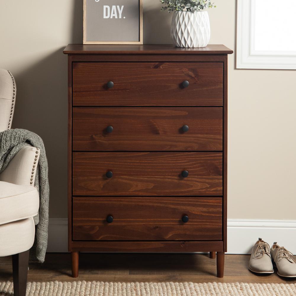 Classic Mid Century Modern 4-Drawer Walnut Solid Wood Dresser