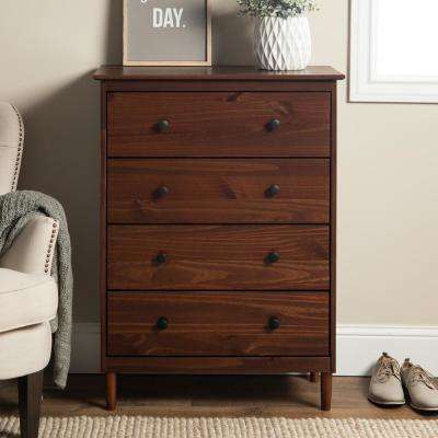 Classic Mid Century Modern 4-Drawer Walnut Solid Wood Dresser