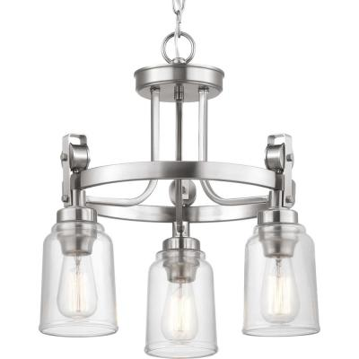 Knollwood 3-Light Brushed Nickel Chandelier with Clear Glass Shades