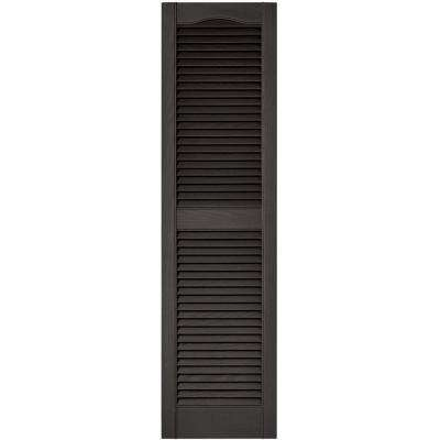 15 in. x 55 in. Louvered Vinyl Exterior Shutters Pair in #018 Tuxedo Grey
