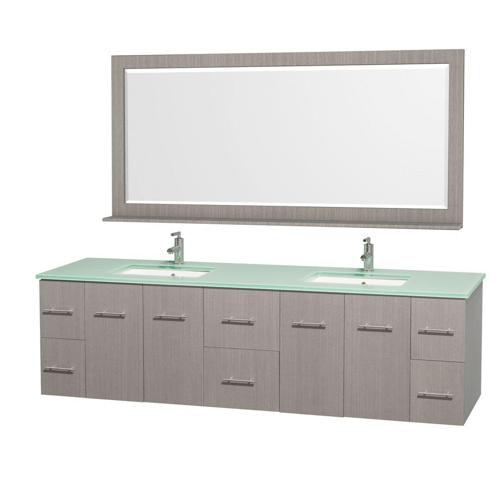 Wyndham Collection Centra 80 in. Double Vanity in Grey Oak with Glass Vanity Top in Aqua and Square Porcelain Under-Mounted Sinks