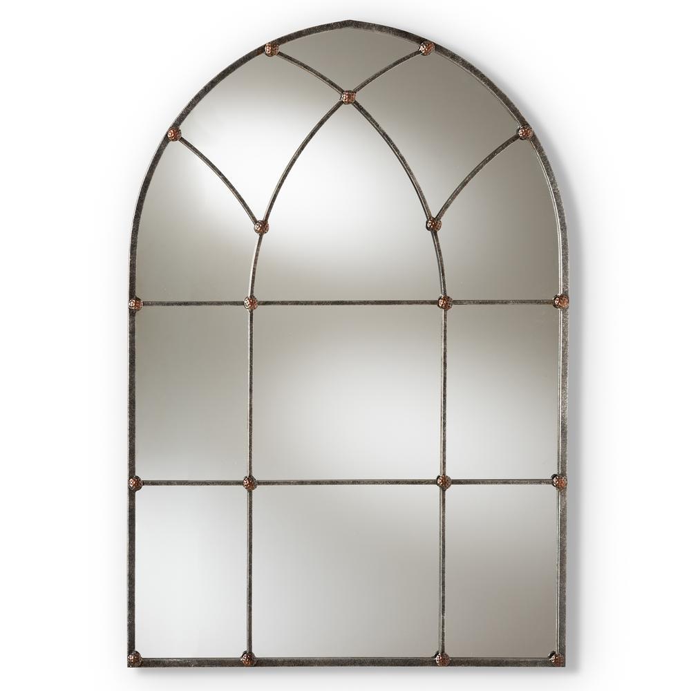 Baxton Studio Tova Antique Silver Wall Mirror 150 9054 Hd