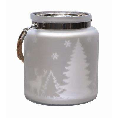 6 in. Matte Silver Winter Scene Decorative Christmas Pillar Candle Holder Lantern with Handle