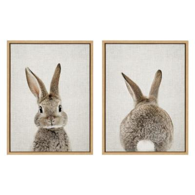 "Sylvie ""Bunny Portrait and Bunny Tail"" by Amy Peterson Framed Canvas Wall Art Set 18 in. x 24 in."