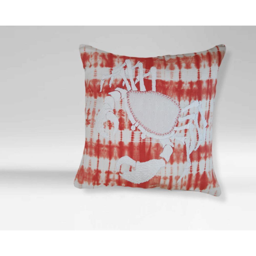 A1HC Orange-White Nautical Tie-Dye Crab 20 in. Cotton Throw Pillow A1SP034A