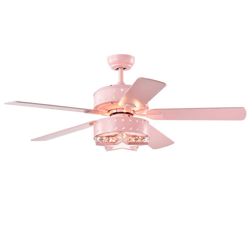 Warehouse of Tiffany Funder 52 in. Indoor Star Pink Lighted Remote Controlled Ceiling Fan with Light Kit