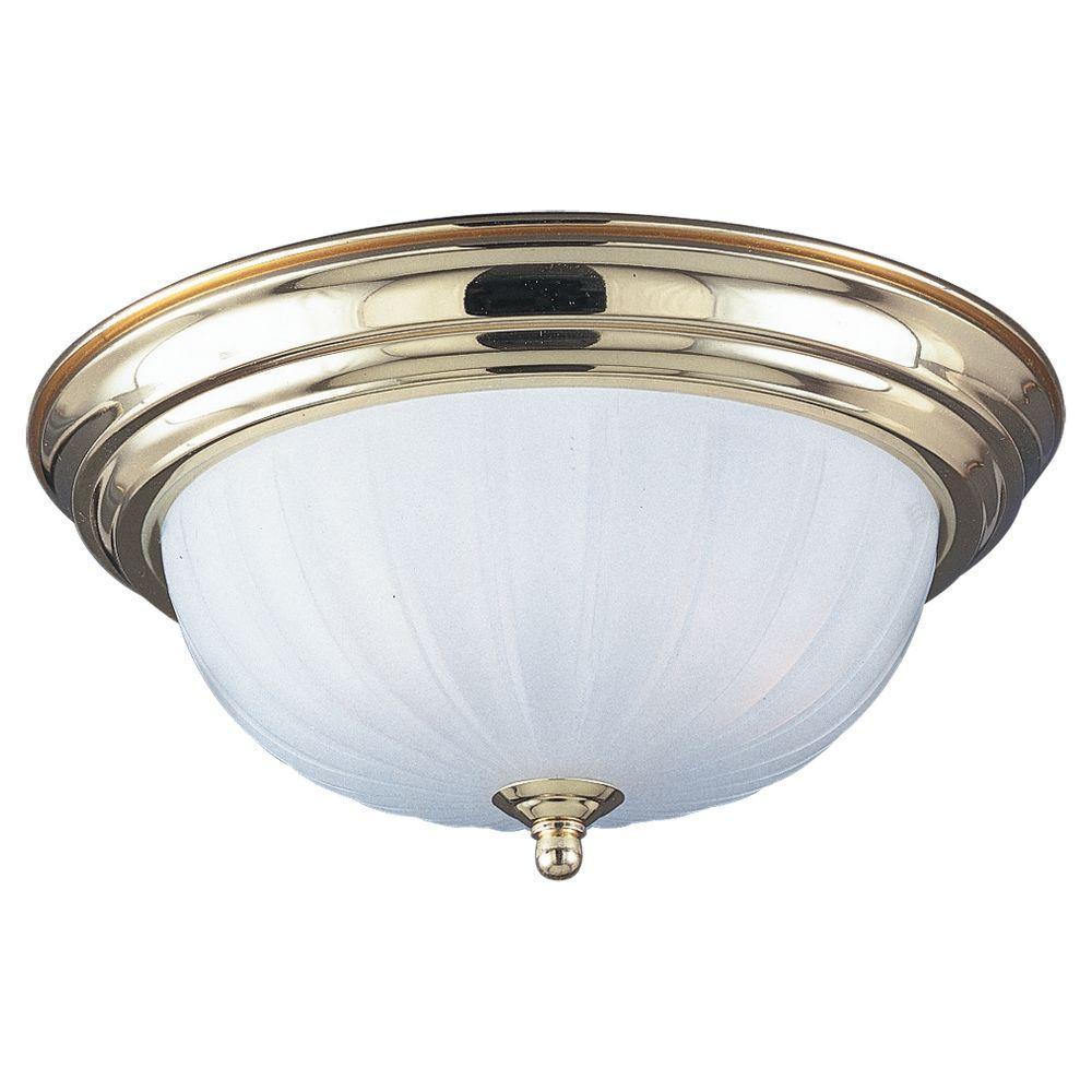 Sea Gull Lighting Linwood 1-Light Polished Brass Flushmount