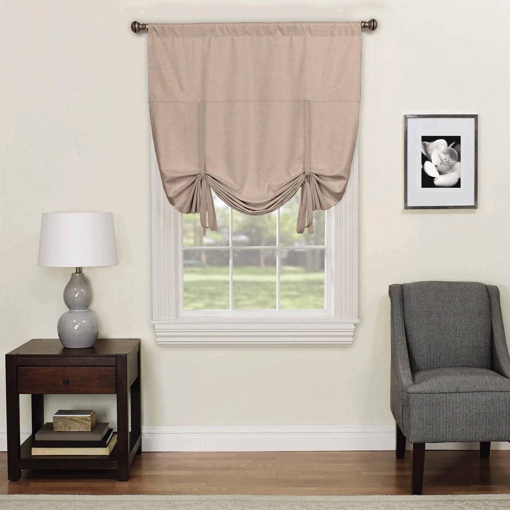 Blackout Light Grey Smooth Polyester Rod Pocket Curtain (1-Pair)