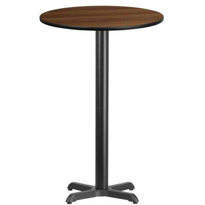 24 in. Round Walnut Laminate Table Top with 22 in. x 22 in. Bar Height Table Base