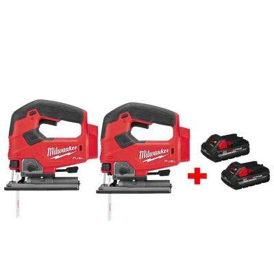 M18 FUEL 18-Volt Lithium-Ion Brushless Cordless Jig Saw (2-Tool) with HIGH OUTPUT 3.0Ah Battery (2-Pack)