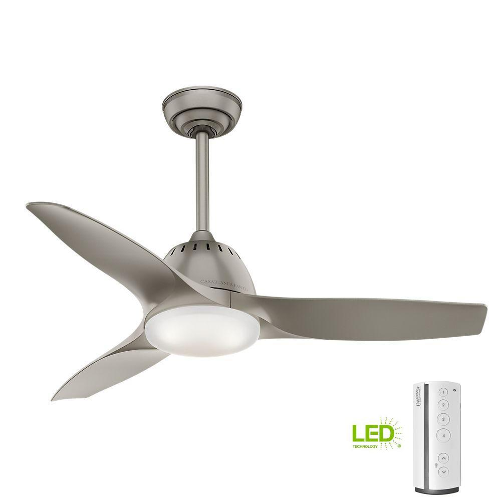 Casablanca Wisp 44 in. LED Indoor Pewter Ceiling Fan with Remote Control