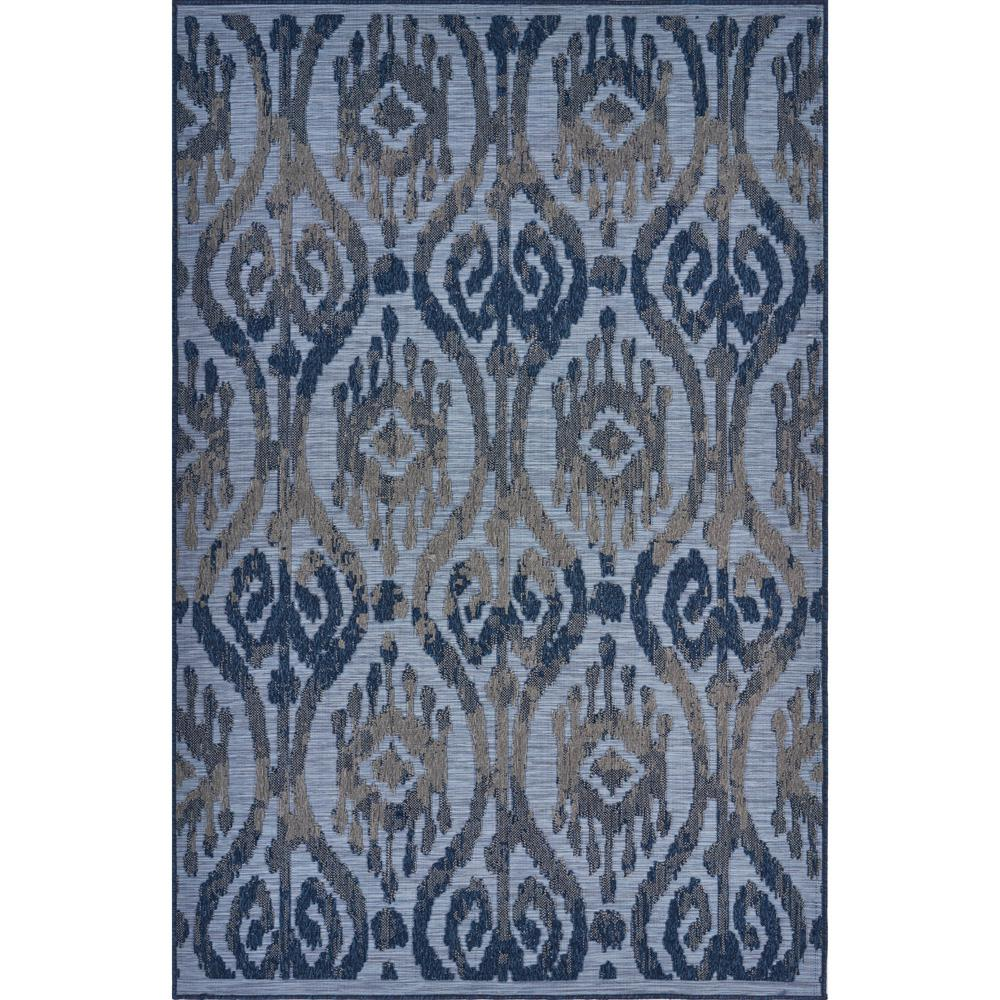 LR Home Retreat Blue 5 ft. x 7 ft. Patterned Ikat Indoor/Outdoor Area Rug