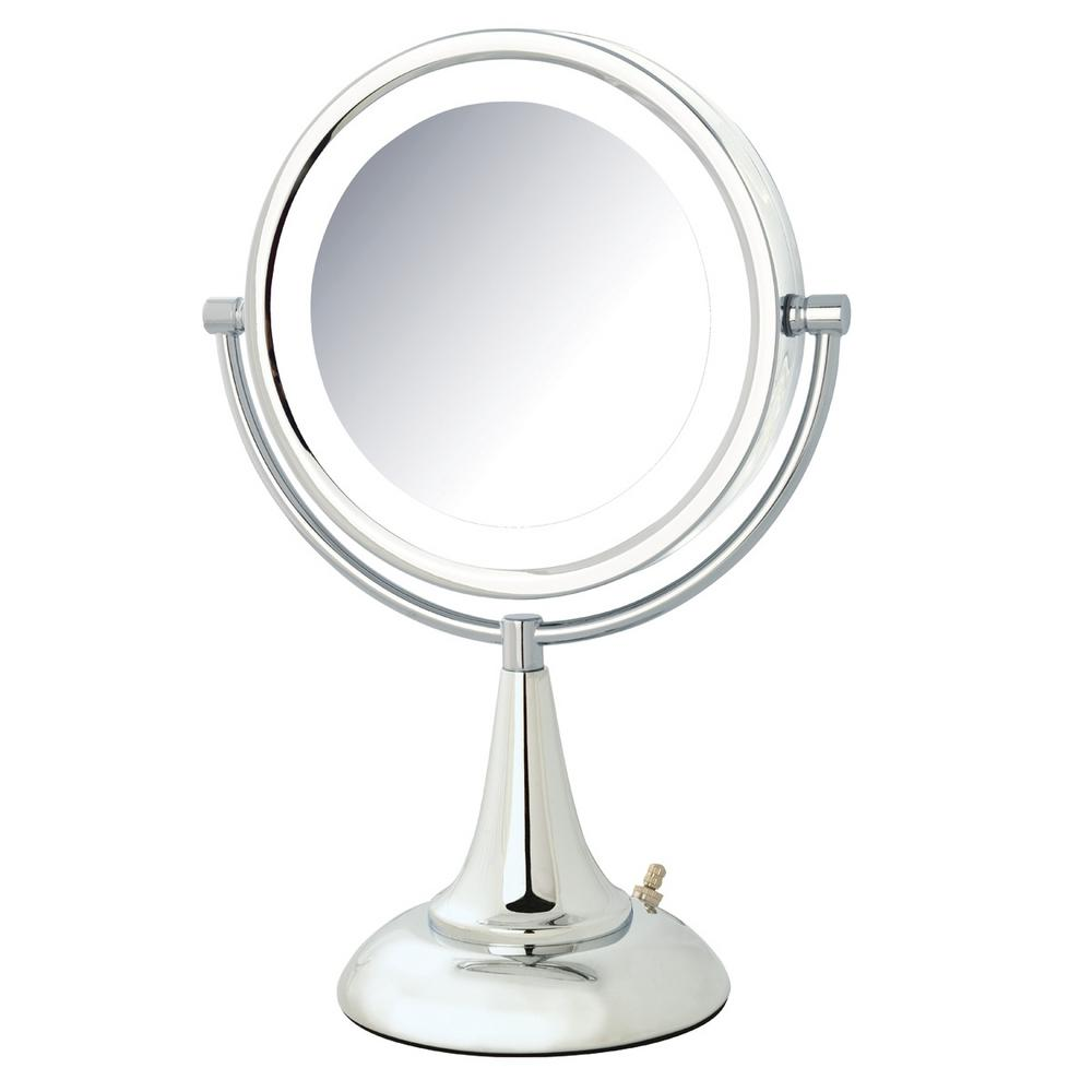 Jerdon 10 in. x 15 in. LED Lighted Table Mirror, Grey
