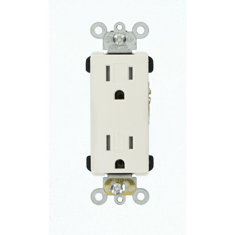 Decora Plus 15 Amp Tamper Resistant Self Grounding Duplex Outlet, White