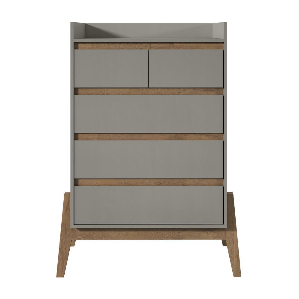 Essence 48.23 in. Tall 4-Drawer Grey Dresser