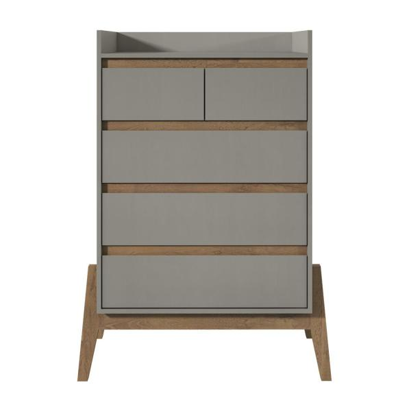 Manhattan Comfort Essence 48.23 in. Tall 4-Drawer Grey Dresser 350845