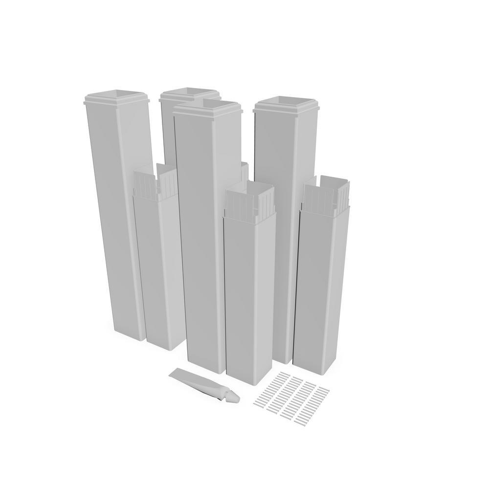 New England Arbors 24 in. White Vinyl Pergola Post Extension Kit (Pack of 4)