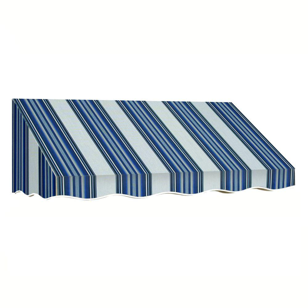 AWNTECH 14 ft. San Francisco Window/Entry Awning (16 in. H x 30 in. D) in Navy/Gray/White Stripe