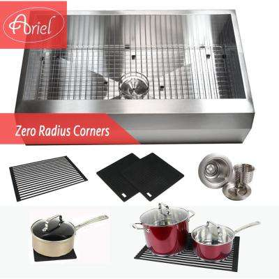 Well Angle Farmhouse/Apron Stainless Steel 36 in. x 22 in. x 10 in. 16-Gauge Single Bowl Zero Radius Kitchen Sink Combo