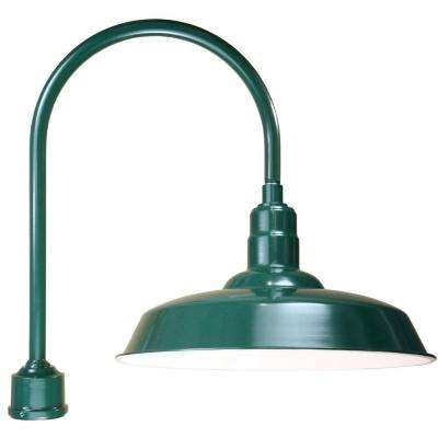 1-Light Outdoor Green Warehouse Shade Post Light