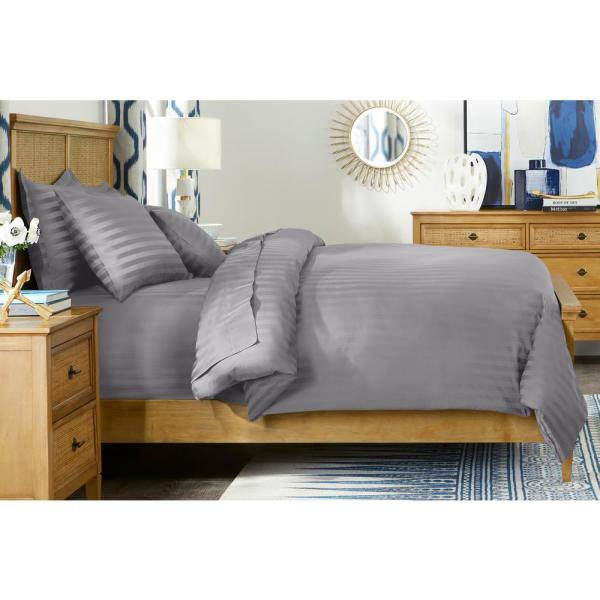 500 Thread Count Egyptian Cotton Sateen 3-Piece Full/Queen Duvet Cover Set in Stone Gray Damask