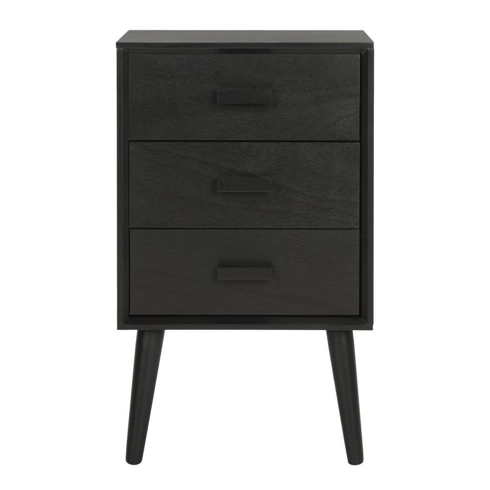 Pomona Black 3-Drawer End Table