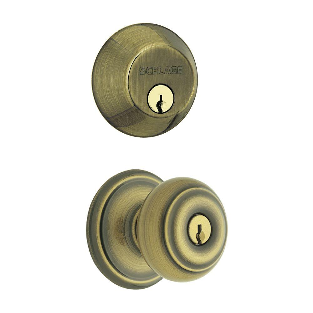 Schlage Georgian Antique Brass Single Cylinder Deadbolt With Entry Door Knob  Combo Pack