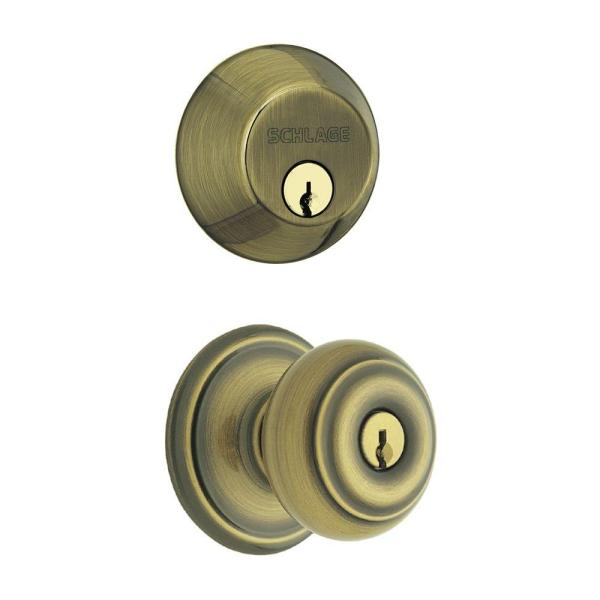 Georgian Antique Brass Single Cylinder Deadbolt with Entry Door Knob Combo Pack