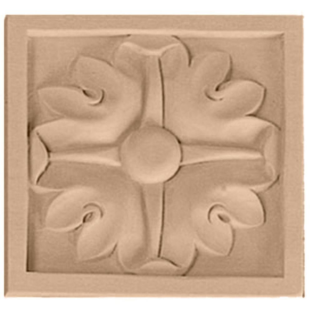 Ekena Millwork 3/4 in. x 3-1/2 in. x 3-1/2 in. Unfinished Wood Alder Medium Edinburgh Rosette