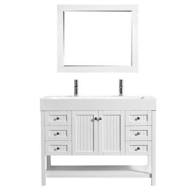 Pavia 48 in. W x 20 in. D Vanity in White with Acrylic Vanity Top in White with White Basin and Mirror