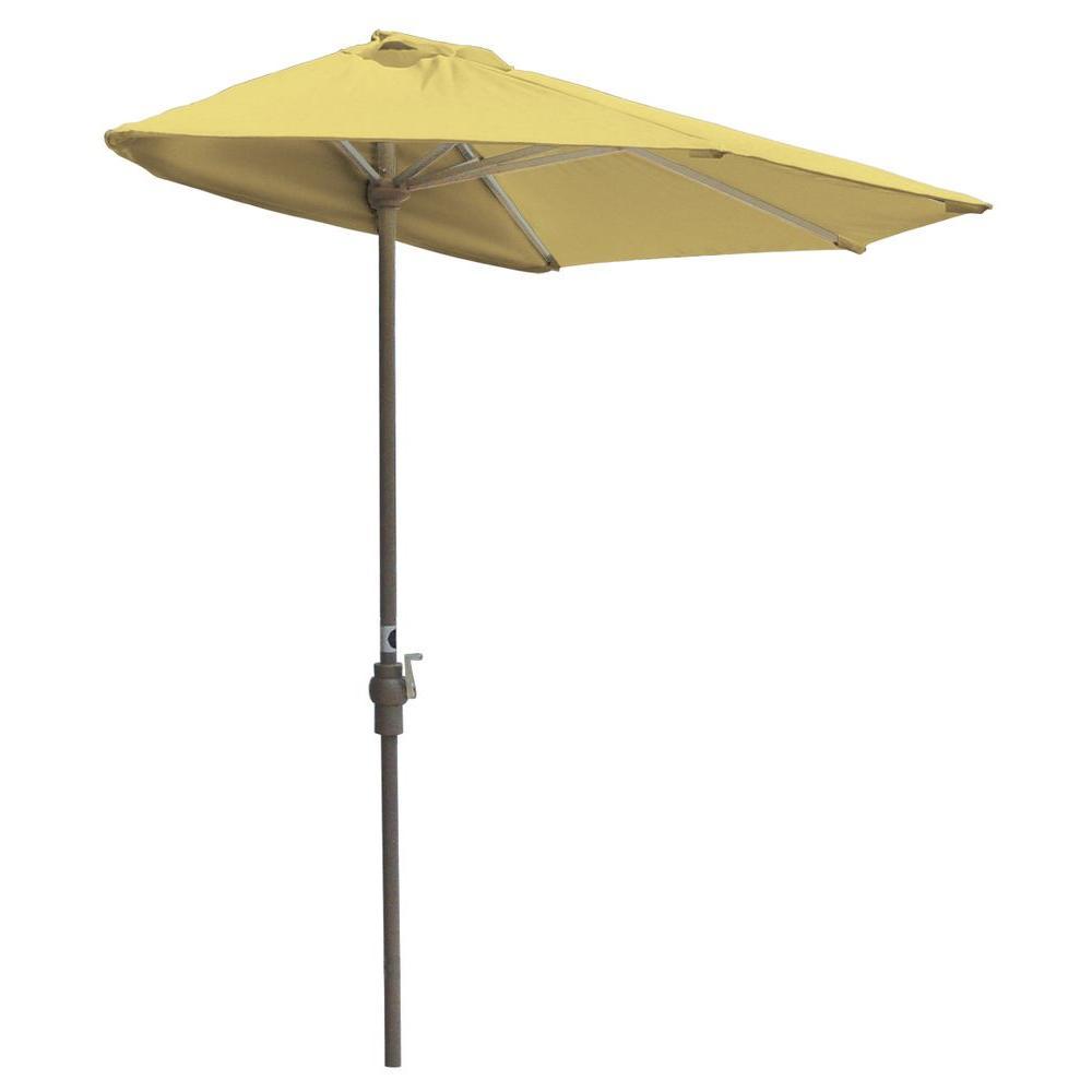 Off-The-Wall Brella 9 ft. Patio Half Umbrella in Yellow Sunbrella