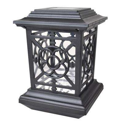 Bancroft-Style Solar Black Outdoor Integrated LED Post Cap Deck Light